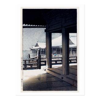 雪の清水寺, Snow at Kiyomizu Temple, Hasui Kawase Postcard