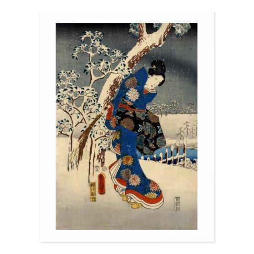 雪の芸者, 豊国 Geisya in Snow, Toyokuni, Ukiyo-e Postcard