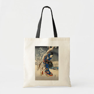 雪の芸者, 豊国 Geisya in Snow, Toyokuni, Ukiyo-e Tote Bag