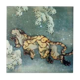 雪中虎図, 北斎 Tiger in the Snow, Hokusai, Art Ceramic Tile
