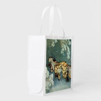雪中虎図, 北斎 Tigerin theSnow, Hokusai, Art Grocery Bag