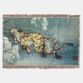 雪中虎図, 北斎 Tigerin theSnow, Hokusai, Art Throw
