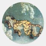 雪中虎図, 北斎 Tigerin theSnow, Hokusai Classic Round Sticker