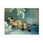 雪中虎図, 北斎 Tigerin theSnow, Hokusai Postcard