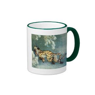 雪中虎図, 北斎 Tigerin theSnow, Hokusai Ringer Mug