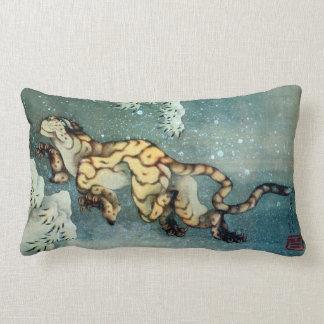 雪中虎図, tigre en la nieve, Hokusai, arte del 北斎 Cojín