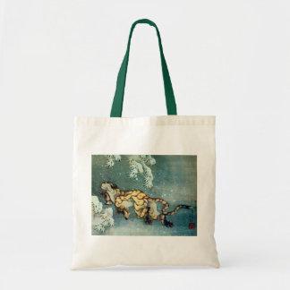 雪中虎図, tigre en la nieve, Hokusai del 北斎 Bolsa Lienzo