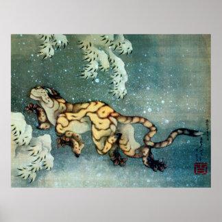 雪中虎図, tigre en la nieve, Hokusai del 北斎 Poster