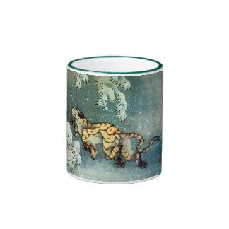 雪中虎図, tigre en la nieve, Hokusai del 北斎 Taza De Café