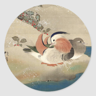 雪中鳥図(部分), 抱一 Birds in the Snow(detail), Hōitsu Classic Round Sticker