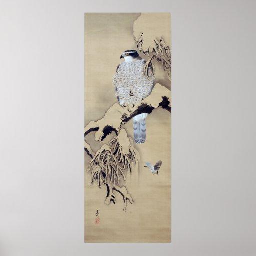 雪中鷹図, 柴田是真 Hawk in the Snow, Shibata Zeshin Poster