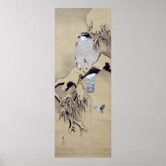 雪中鷹図, halcón en la nieve, Shibata Zeshin del 柴田是真 Poster