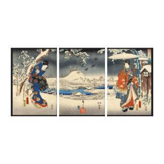雪景色の恋人, amantes del 豊国 en la escena de la nieve, T Lona Envuelta Para Galerias