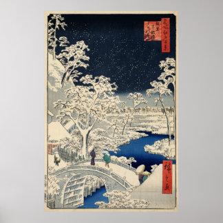 雪 太鼓橋 puente del tambor Nevado del 広重 Hiroshige Impresiones