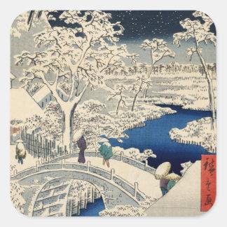 雪 太鼓橋 puente del tambor Nevado del 広重 Hiroshige Colcomanias Cuadradass