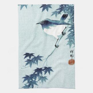 青い鳥, pájaro del 古邨 en el azul, Koson, Ukiyo-e Toallas De Cocina