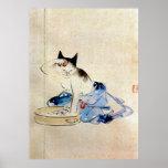 顔を洗う猫, 広重 Cat Face Wash, Hiroshige Poster
