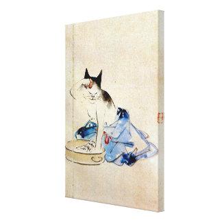 顔を洗う猫, 広重 Cat Face Wash, Hiroshige, Ukiyo-e Canvas Print