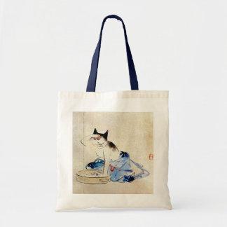 顔を洗う猫, lavado de la cara del gato del 広重, Hiroshig Bolsa Tela Barata