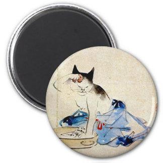 顔を洗う猫, lavado de la cara del gato del 広重, Hiroshig Imán De Nevera