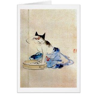 顔を洗う猫, lavado de la cara del gato del 広重, Hiroshig Felicitacion
