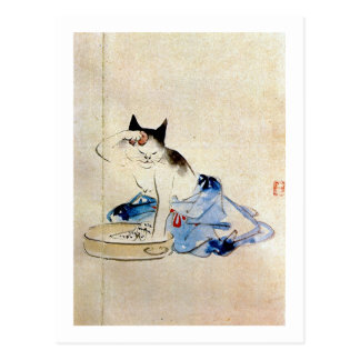 顔を洗う猫, lavado de la cara del gato del 広重, Hiroshig Postales