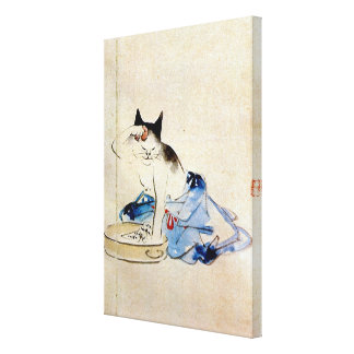 顔を洗う猫, lavado de la cara del gato del 広重, impresión en lienzo