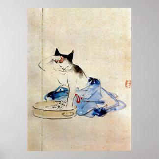 顔を洗う猫, lavado de la cara del gato del 広重, póster