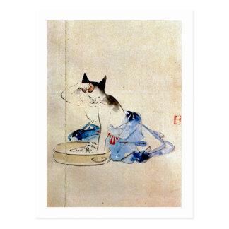 顔を洗う猫, lavado de la cara del gato del 広重, tarjetas postales