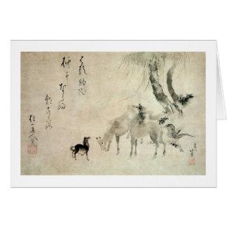 馬の家族, 北斎 Family of The Horse, Hokusai, Sumi-e Card