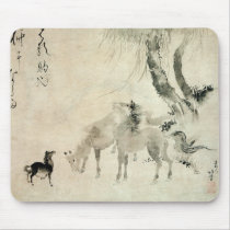 馬の家族, 北斎 Family of The Horse, Hokusai, Sumi-e Mouse Pad