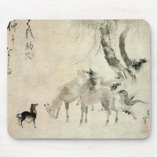 馬の家族, 北斎 Family of The Horse, Hokusai, Sumi-e Mouse Pad
