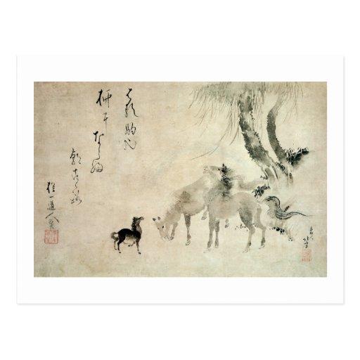馬の家族, 北斎 Family of The Horse, Hokusai, Sumi-e Postcard