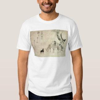 馬の家族, 北斎 Family of The Horse, Hokusai, Sumi-e T-Shirt