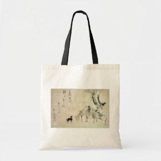 馬の家族, familia del caballo, Hokusai, Sumi-e del 北斎 Bolsas