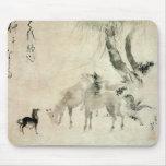 馬の家族, familia del caballo, Hokusai, Sumi-e del 北斎 Tapete De Raton