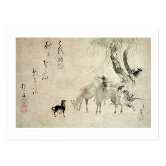 馬の家族, familia del caballo, Hokusai, Sumi-e del 北斎 Tarjeta Postal