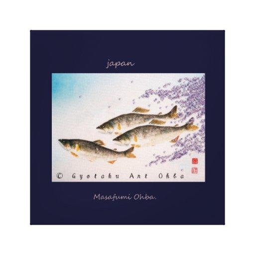 鮎桜 【3匹の鮎】 ※基本サイズ約【60.96×60.96】前後。JAPAN ART GYOTAKU IMPRESIÓN EN TELA