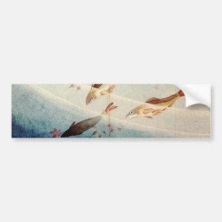 鮎, 北斎 Sweetfish, Hokusai, Art Car Bumper Sticker