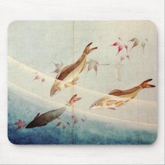 鮎, 北斎 Sweetfish, Hokusai, Art Mouse Pad