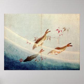 鮎, 北斎 Sweetfish, Hokusai, Art Poster