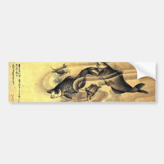 鯉と亀, carpas y tortugas, Hokusai, Ukiyoe del 北斎 Etiqueta De Parachoque
