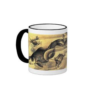 鯉と亀, carpas y tortugas, Hokusai, Ukiyoe del 北斎 Taza De Café