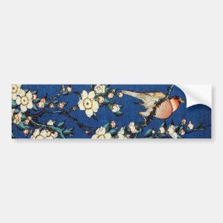 鳥と枝垂桜, 北斎 Bird and Weeping Cherry Tree, Hokusai Bumper Sticker