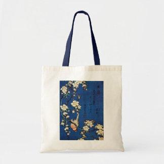 鳥と枝垂桜, 北斎 Bird and Weeping Cherry Tree, Hokusai Tote Bag