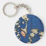鳥と枝垂桜, pájaro y cerezo que llora, Hokusai del 北斎 Llaveros
