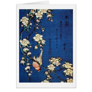 鳥と枝垂桜 pájaro y cerezo que llora Hokusai del 北斎 Tarjetas