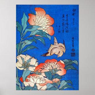 鳥と芍薬, 北斎 Bird and Peony, Hokusai, Ukiyoe Poster