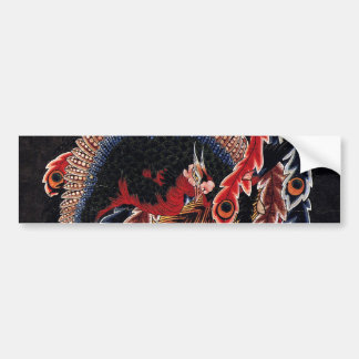 鳳凰図, 北斎 Chinese Phoenix, Hokusai, Art Bumper Sticker