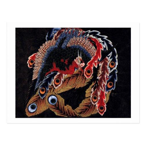 鳳凰図, 北斎 Chinese Phoenix, Hokusai, Art Postcards